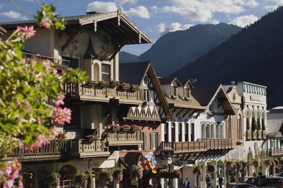 Bavarian style village located near Cascade Mountains