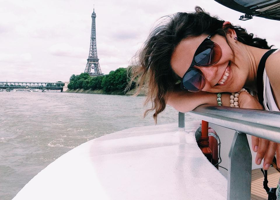 Woman Traveling In Boat, Eiffel Tower