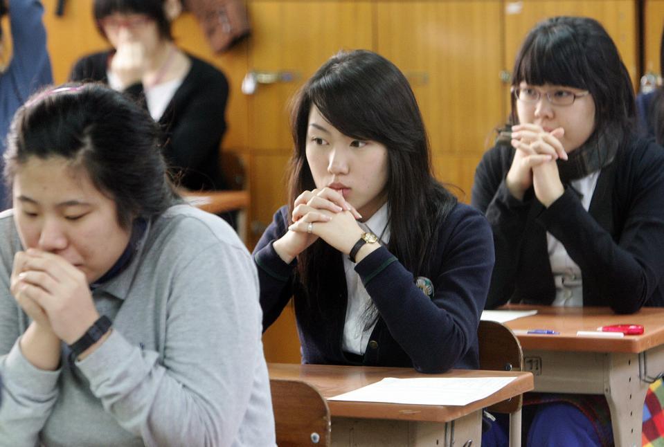Students preparing to take a standardized test.