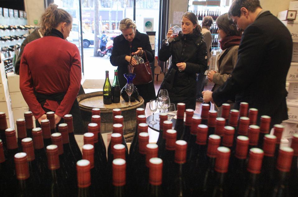 Customers taste the 2007 Beaujolais Nouv