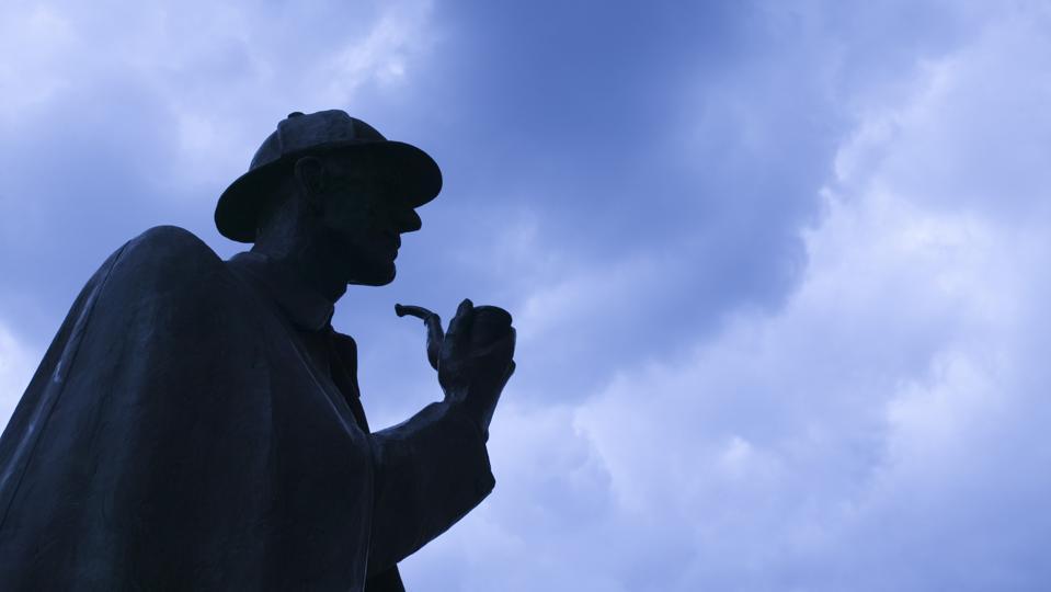 Silhouette of Sherlock Holmes statue, London, England