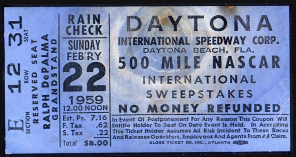 Ticket for Inaugural Race at Daytona International Speedway