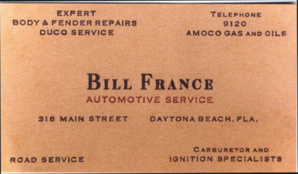 Bill France's Business Card