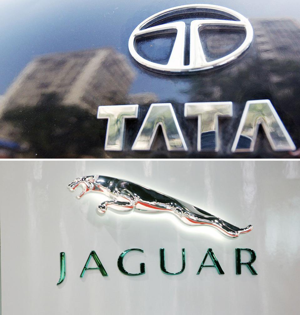 (FILES) Photo shows the Tata logo (top)