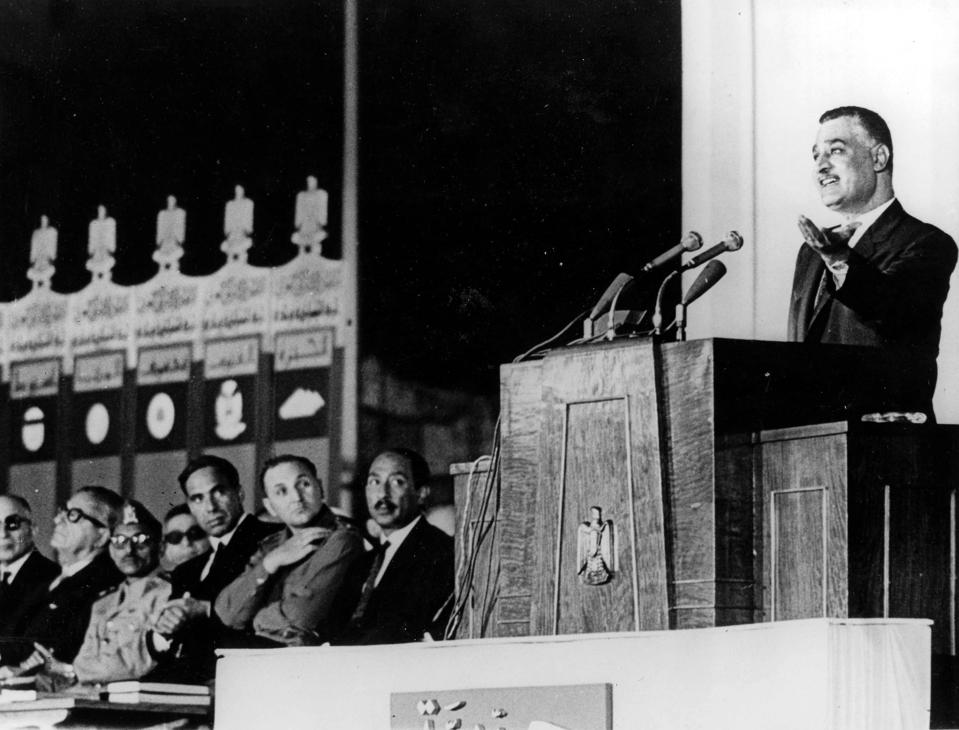 22nd July 1966. Egypt. United Arab Republic President Gamal Abdel Nassar is pictured making a speech at a rally organised by Egypt+s single political party, the Arab Socialist Union, on the eve of the 14th Anniversary of the Egyptian Revolution. Anwar Sad