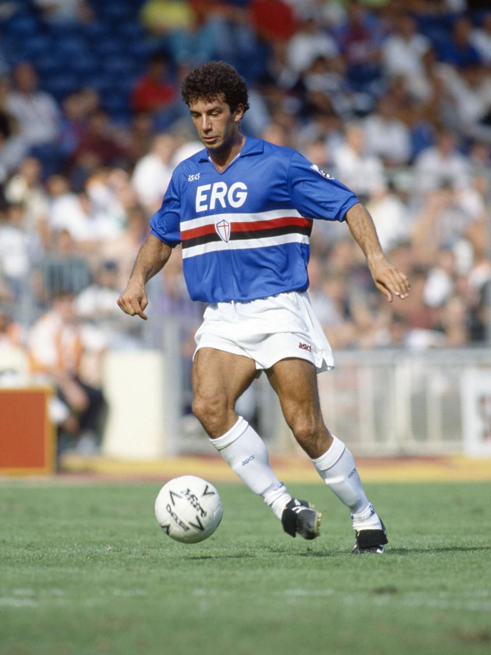 Sport. Football. pic: 11th August 1990. The Makita Tournament at Wembley. Sampdoria 1 v Arsenal 0. Gianluca Vialli, Sampdoria 1984-1992. Gianluca Vialli won 59 Italy international caps between 1985-1993.