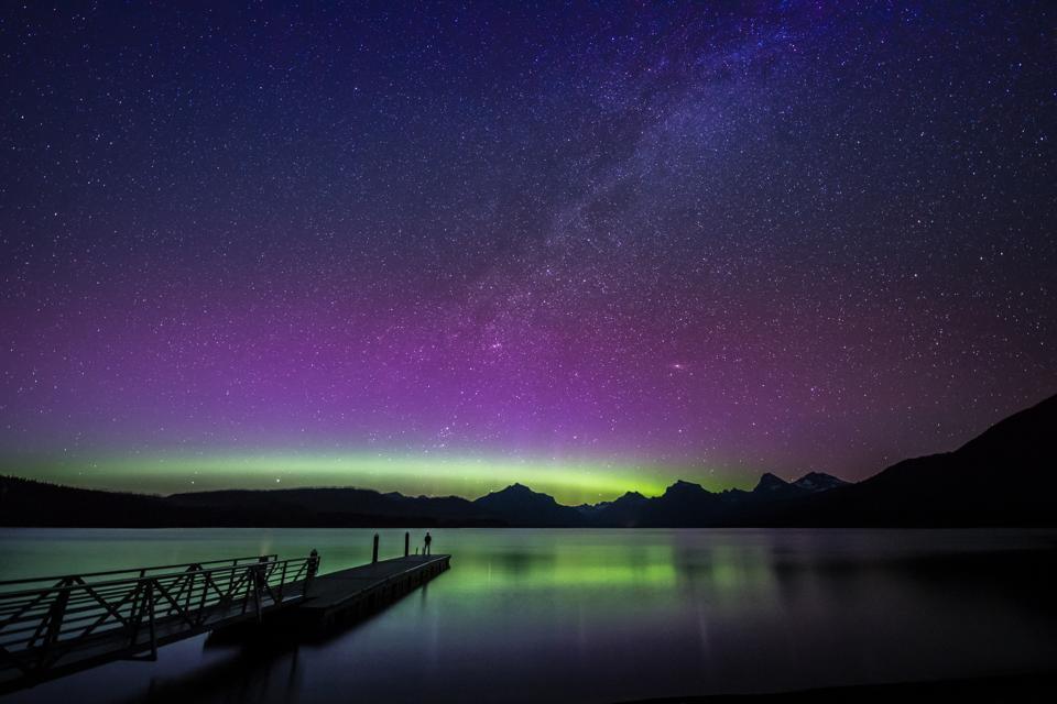 Northern Lights and Milky Way over Lake McDonald, Glacier National Park, Montana