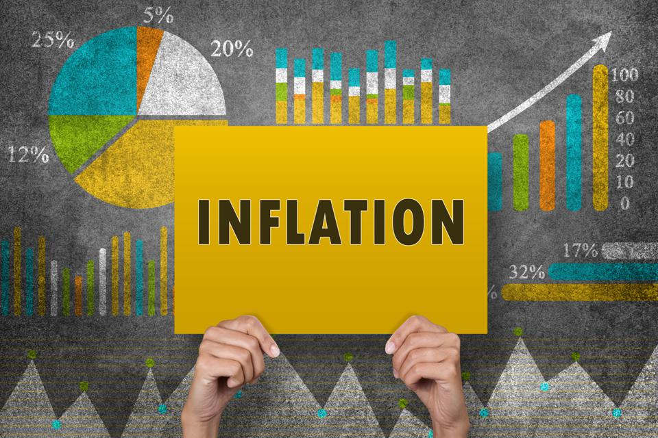 Inflation sign in front of financial report
