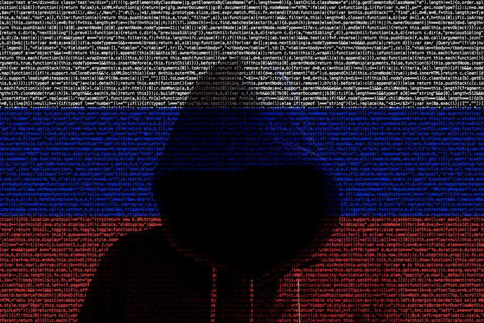 Hacker shininhg through russian computer code flag
