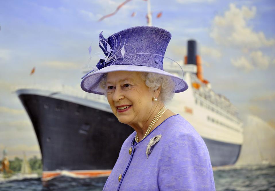 Queen Elizabeth II Visits QE2 Cruise Liner At Southampton Docks