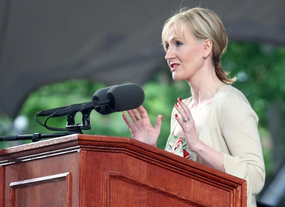 Author J.K. Rowling delivers an address at Harvard University's commencement ceremonies.