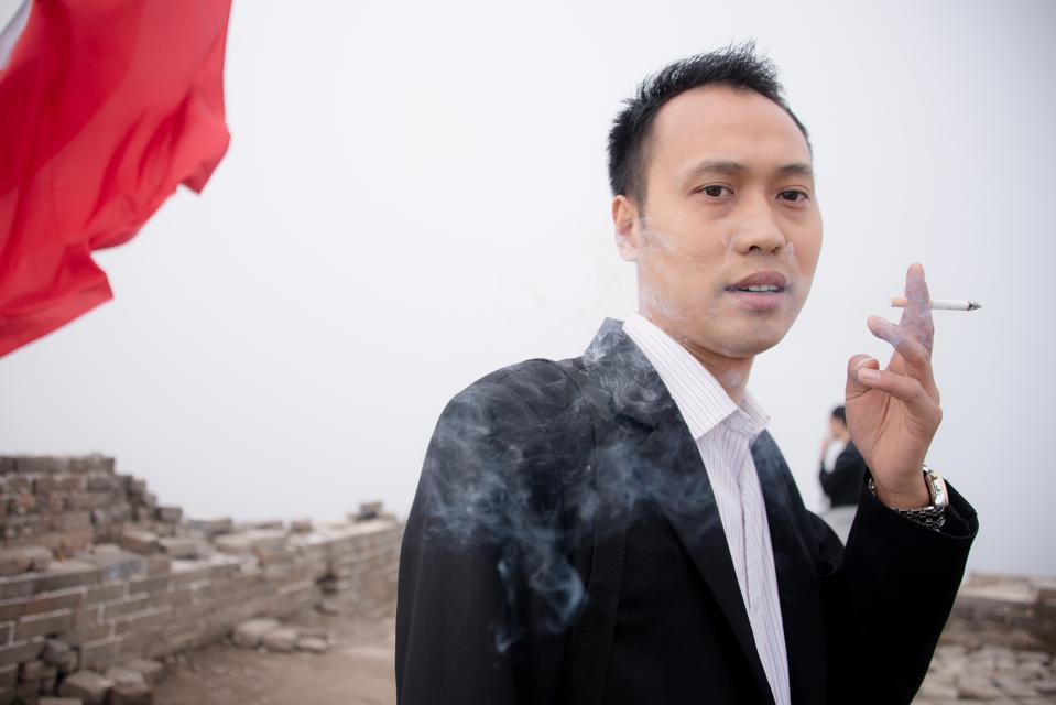 Chinese man smoking