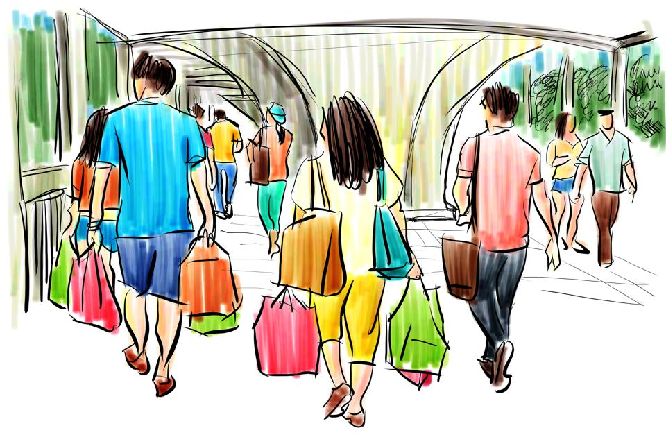 people in shopping mall cartoon sketch