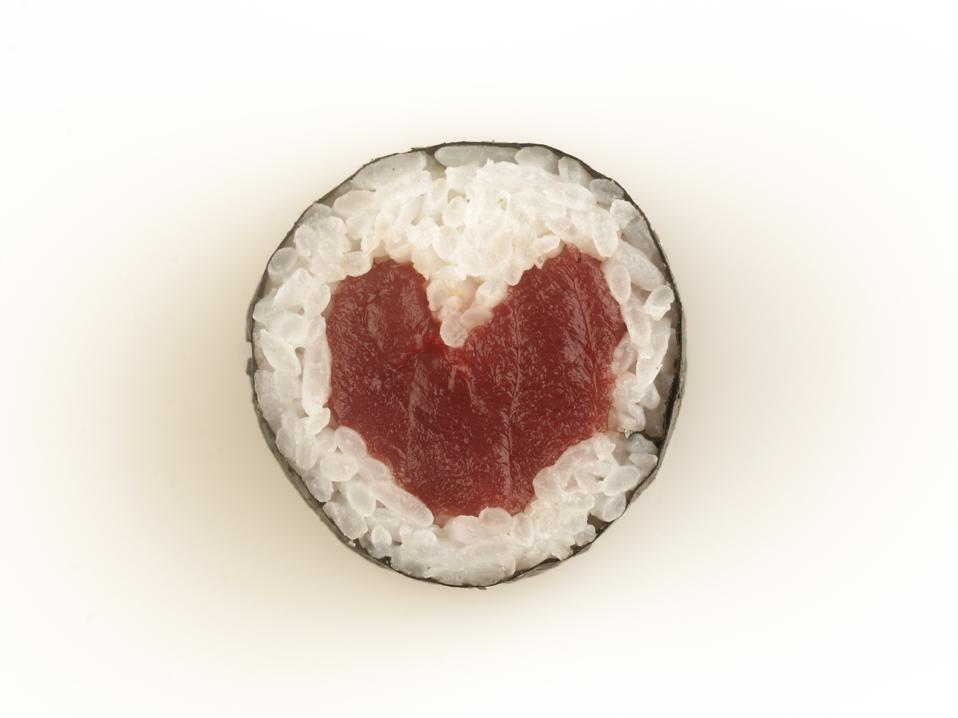 Heart Shaped Tuna Sushi Roll