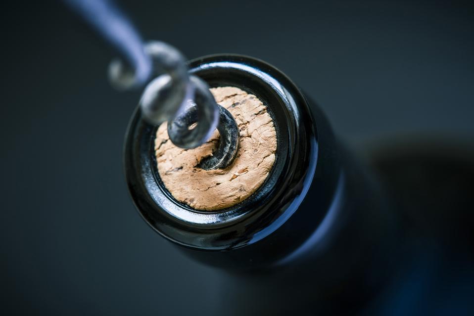 wine cork in bottle