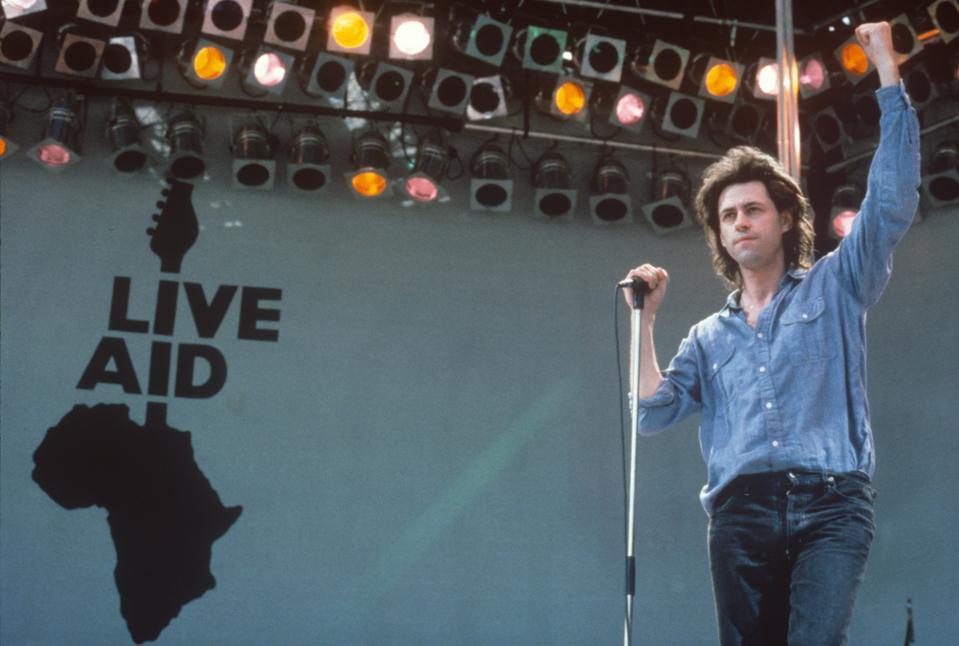 Live Aid charity concert together at home