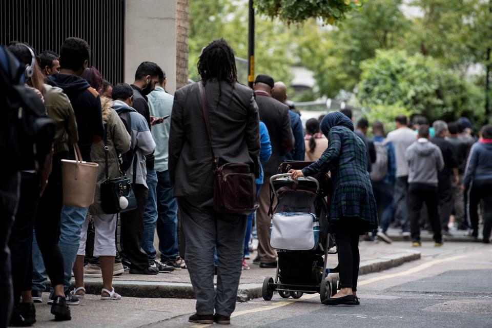 Queues Gather Outside Becket House Immigration Office