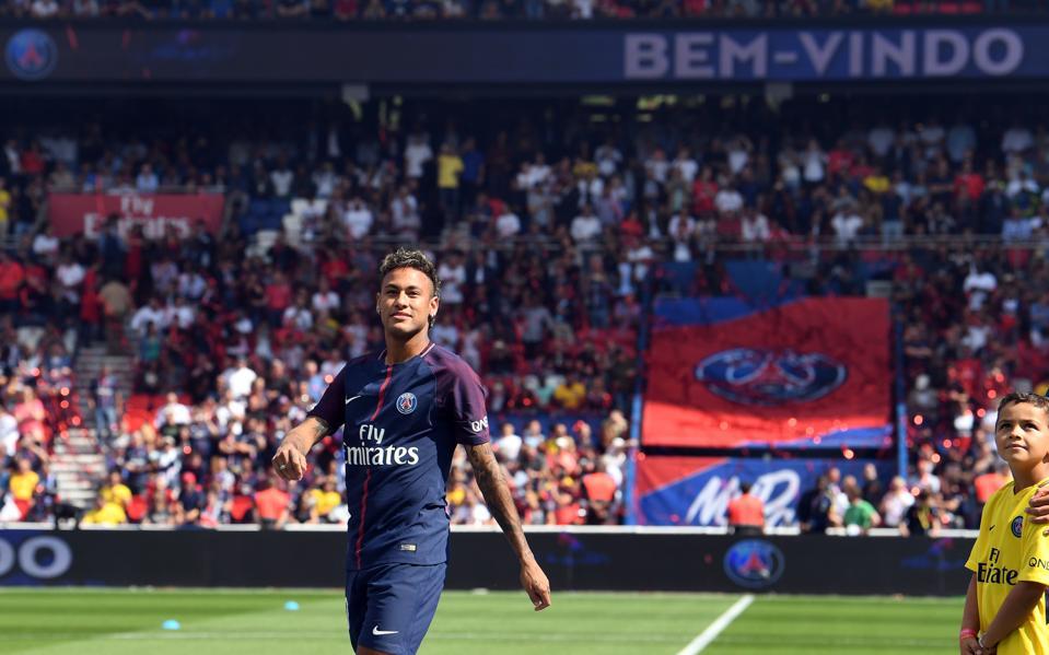 Paris Saint Germains Brazilian Forward Neymar Looks On During His Presentation To The Fans At Parc Des Princes Stadium In August 5 2017