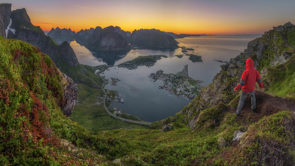 A view of Reine from the top of a mountain in Norway's Lofoten islands.