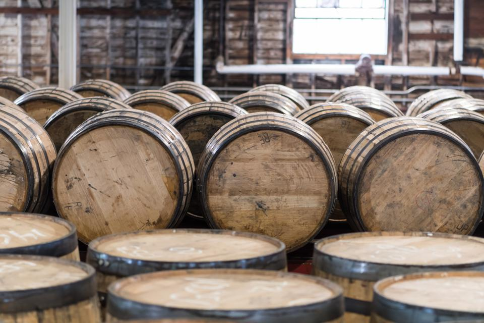 Picture of bourbon barrel storage which is being challenged by fast-aging craft distillers
