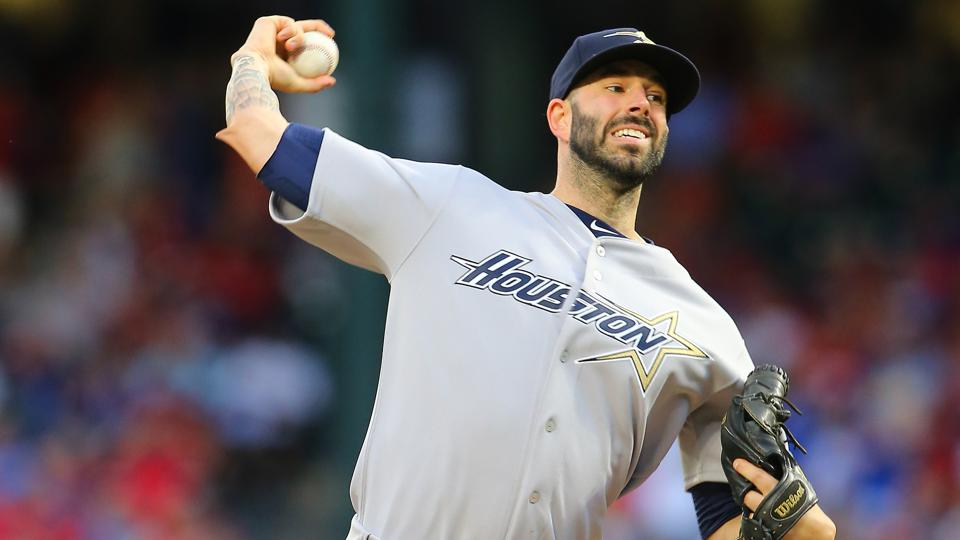 Photo of Mike Fiers pitching when he was with the Houston Astros.