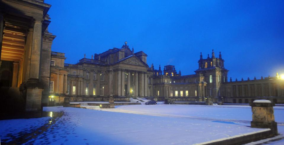 Blenheim Palace Snow covered grounds at Blenheim Palace, Woodstock, where costumes from the film, The Young Victoria are being displayed from February 14.   (Photo by Barry Batchelor - PA Images/PA Images via Getty Images)