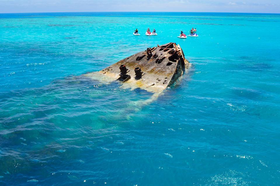 Shipwreck partially submerged on Bermuda Island