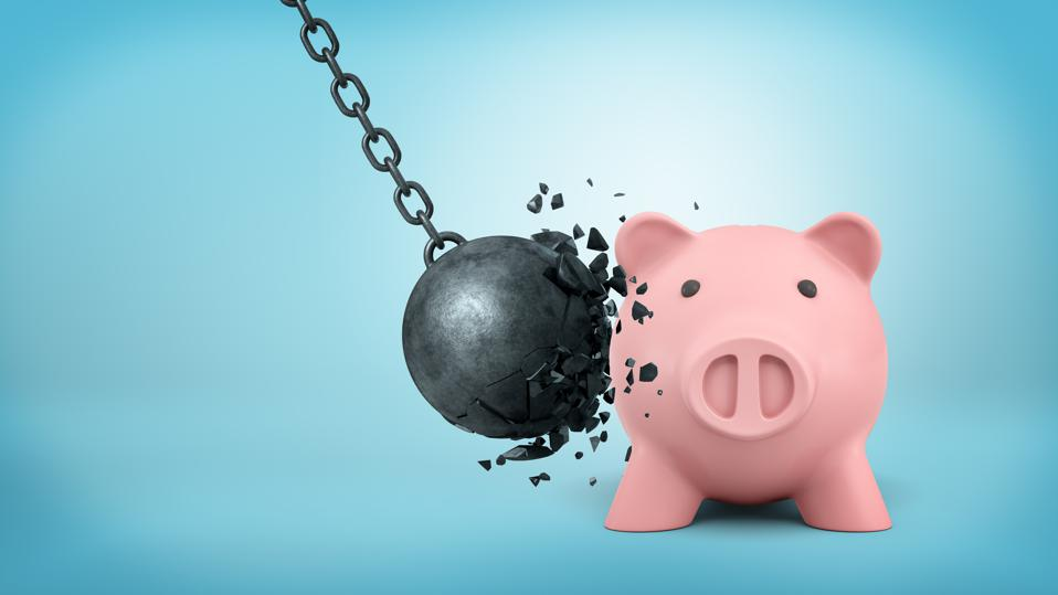 3d rendering of a black swinging wrecking ball breaks itself when collides with a large piggy bank