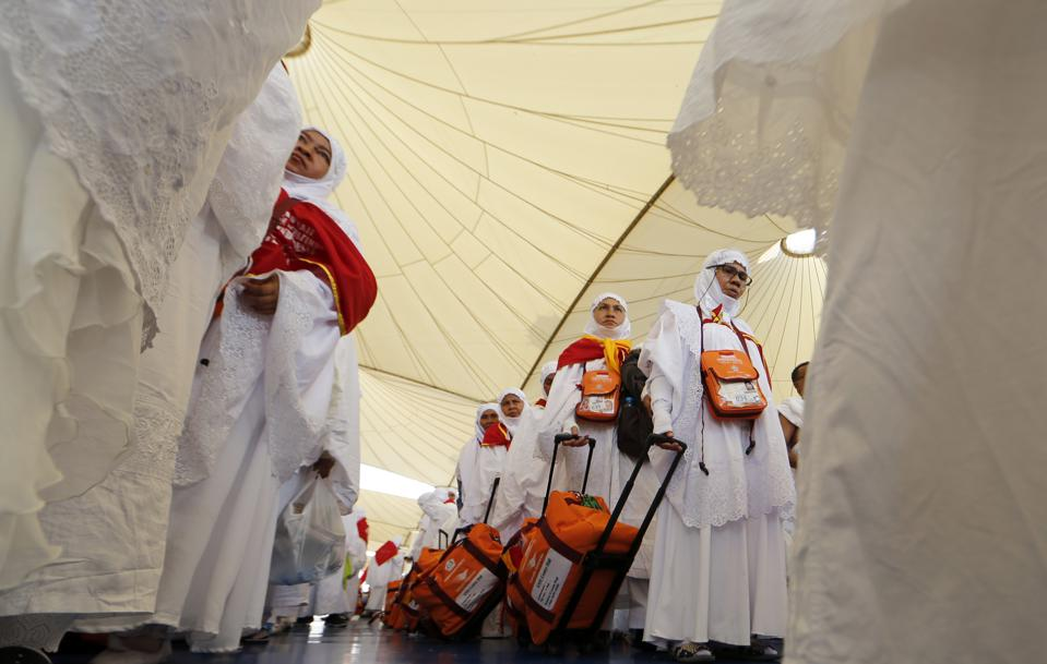 Muslim pilgrims arrive at Jeddah airport on August 26, 2017, prior to the start of the annual Hajj pilgrimage in the holy city of Mecca (KARIM SAHIB/AFP/Getty Images)