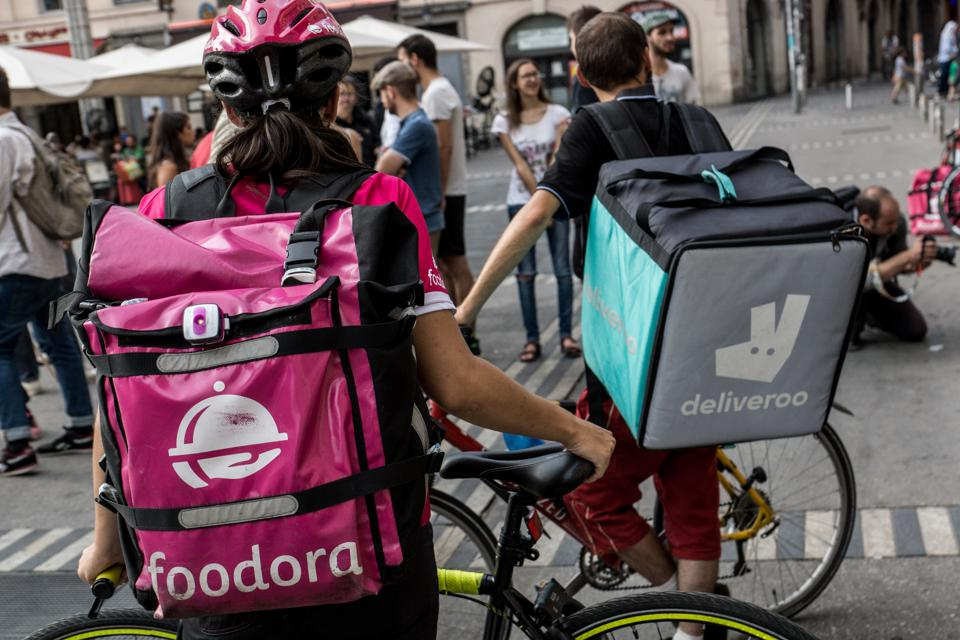 Demonstration of delivery driver of the Deliveroo company in Lyon