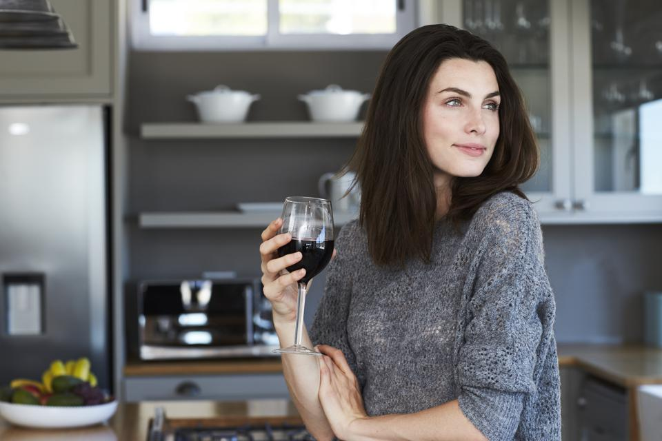 Brunette enjoying wine