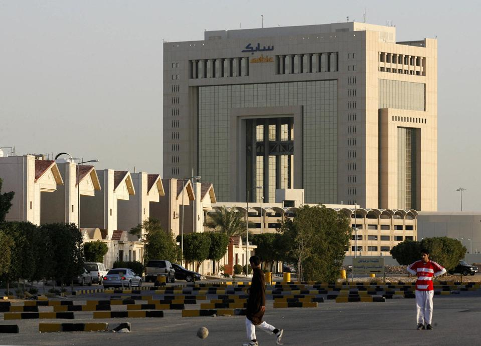 A picture shows the offices of Sabic, th