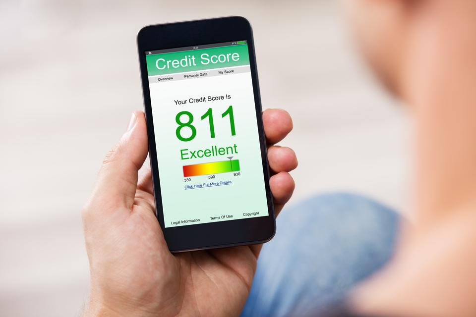 Smart Phone Showing Credit Score On A Screen