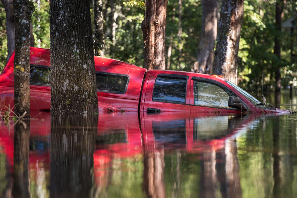A stranded, flooded vehicle after 2017's Hurricane Irma.