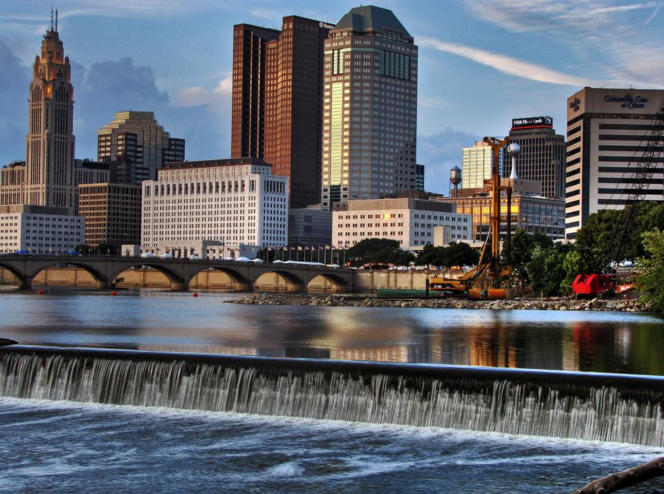 Downtown Columbus Ohio with the Scioto River in the foreground