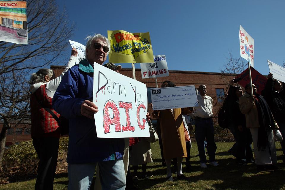 ″Working Families″ Activist Group Protest Against AIG's Bonus Payouts