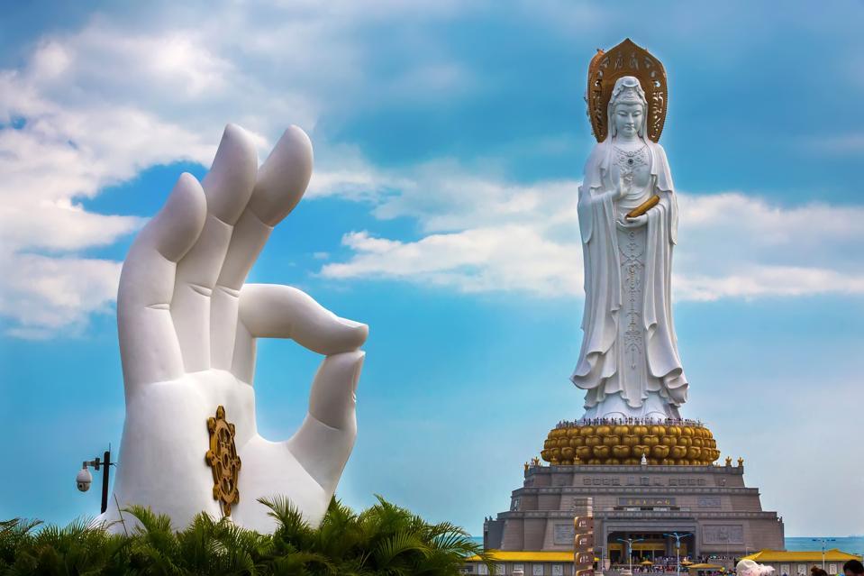 White GuanYin statue in Nanshan Buddhist Cultural Park, Sanya.
