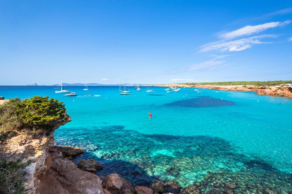 Cala Saona, Formentera coastline idyllic beach in Balearic Islands, Spain