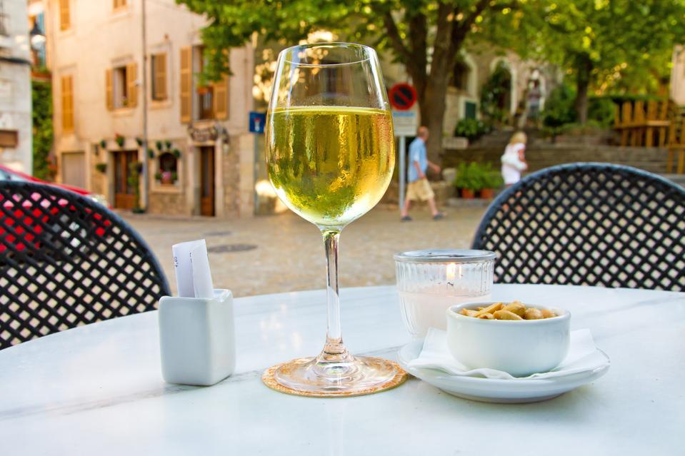 Drinking wine in Valldemossa, Mallorca