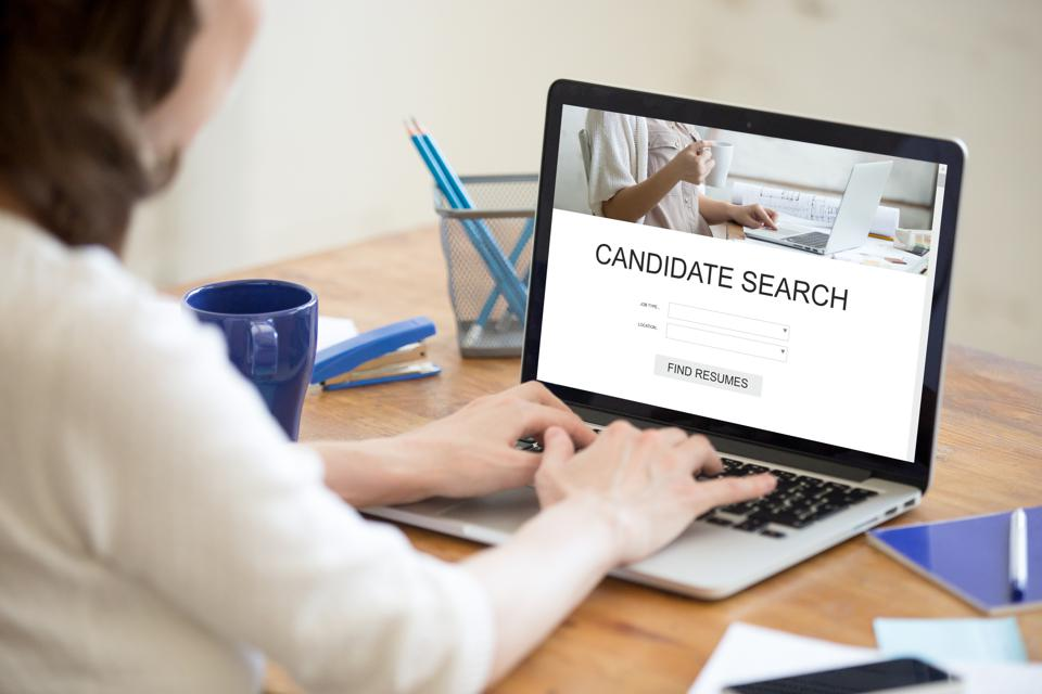HR manager searching for new candidates online, human resource m