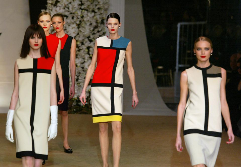 models wearing dresses based on Piet Mondrian's paintings