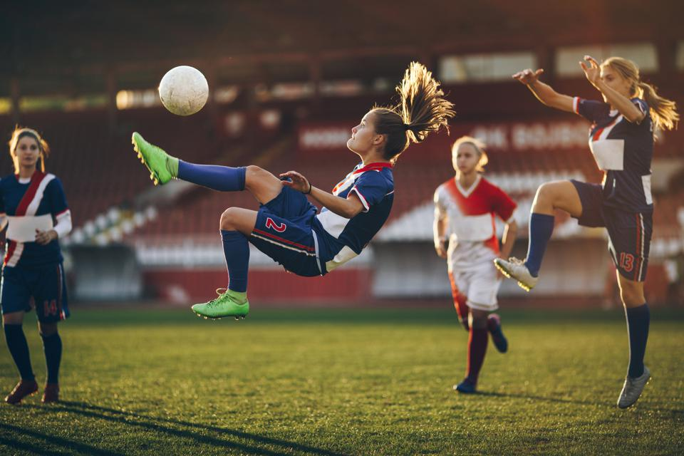 Determined bicycle kick on a soccer match!