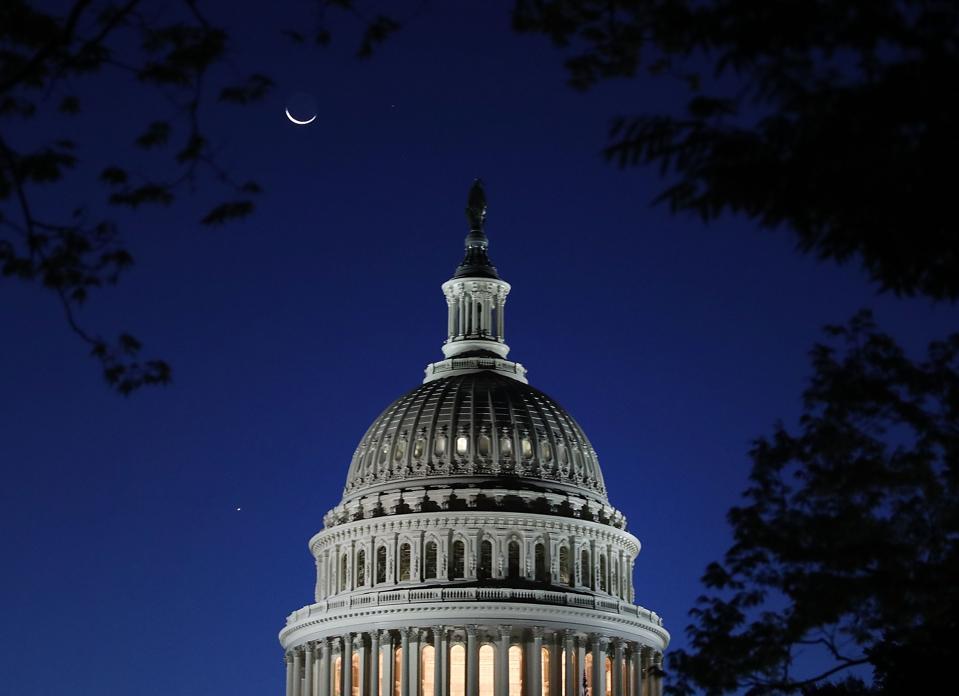 Crescent Moon Over US Capitol