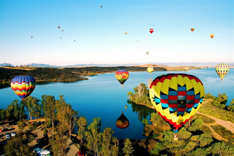 Sunrise Flight over Lake Skinner in Temecula Valley, California
