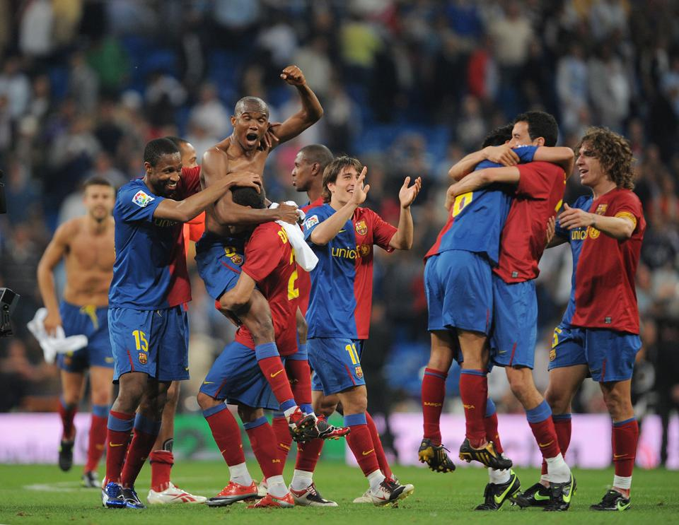 Barcelona beat Real Madrid 6-2 at the Bernabeu in 2009.