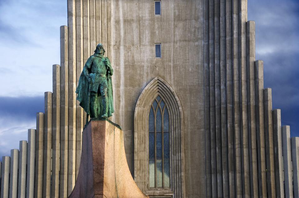 Leif Eriksson statue and Hallgrimskirkja in Reykjavik, Iceland