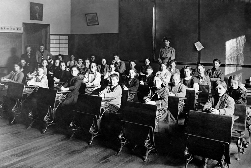 Vintage image of students in classroom