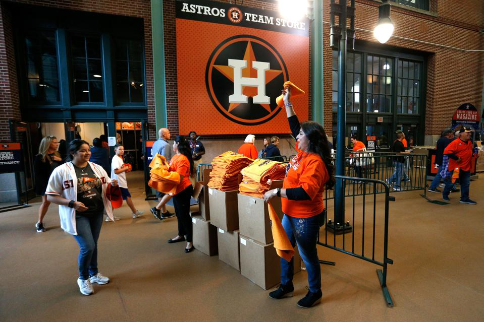 Fans entering Minute Maid Park in Houston, Texas, for a MLB game.