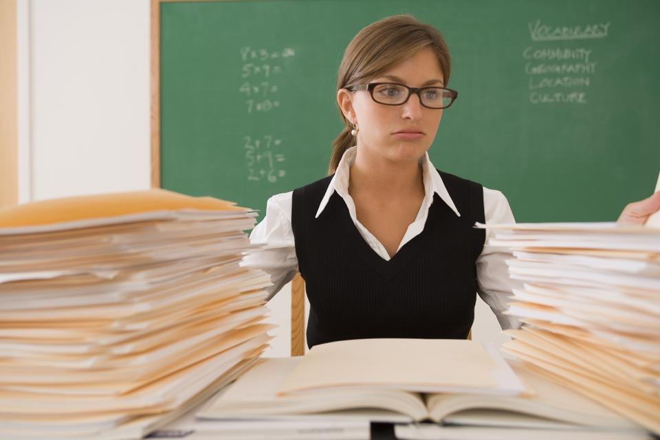 Teacher stressed.