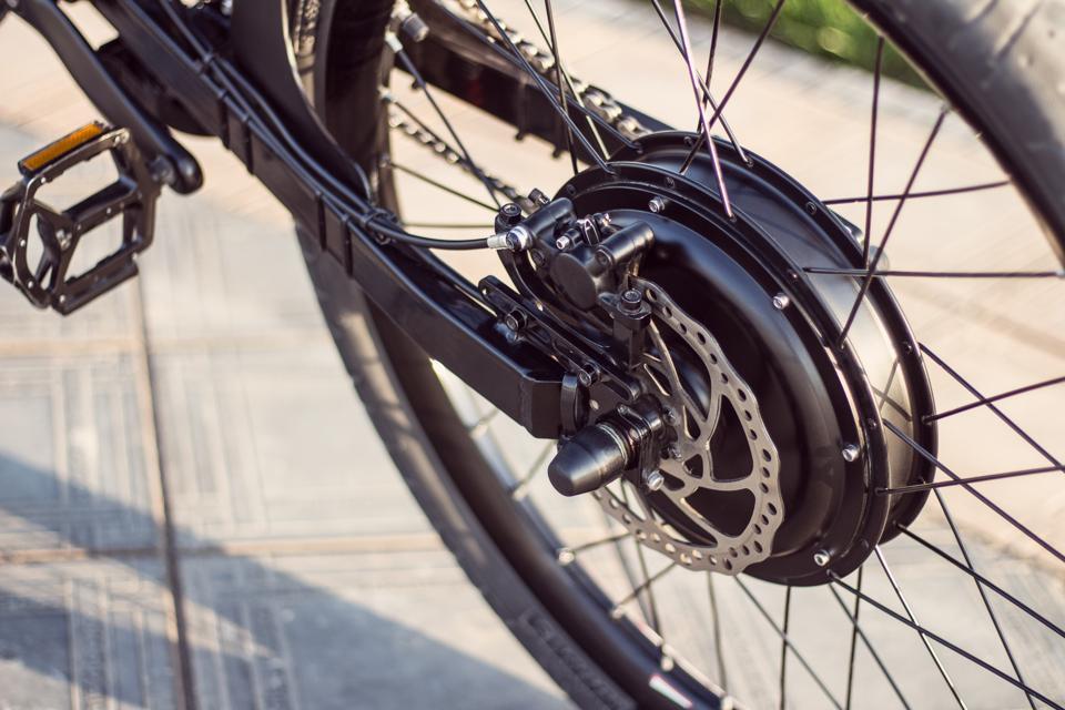 Close up of motor electric bike